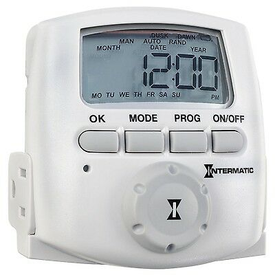 Intermatic DT620 Heavy Duty Indoor Digital Plug-In Timer White New