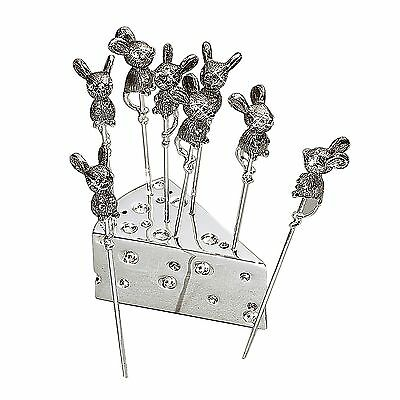 Elegance-87629-Silver Mouse Cheese Picks with Crystal (Set of 8) New