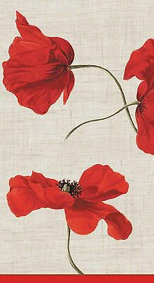 Caspari Entertaining Dancing Poppies Paper Guest Towels Ivory Pack of 15 New