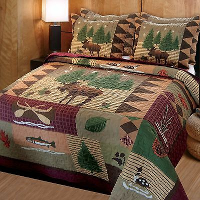 Greenland Home Moose Lodge Quilt Set Full/Queen New
