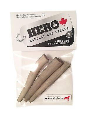 HERO Dog Treats Natural Antler Chew Small 4-4.5-Inch Whole - 3-Pieces New
