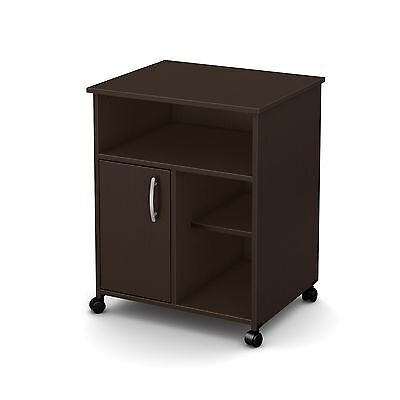 South Shore Fiesta Microwave Cart with Storage on Wheels Chocolate New