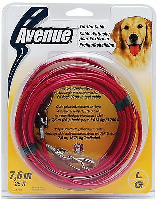 Avenue Tether Dog Tie-Out Cable Large 25-Feet Red New