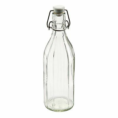 Leifheit Reusable Glass Bottle with Shackle Lock Stopper Clear New