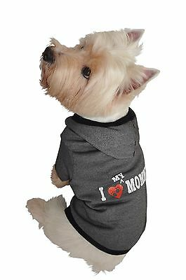 Ruff Ruff and Meow Large Dog Hoodie I Love My Mommy Black New