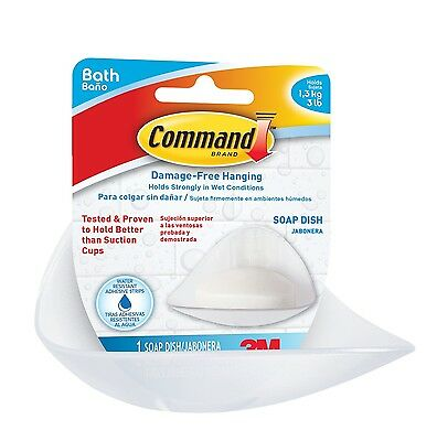 Command Soap Dish with Water-Resistant Strips 3 lb Capacity (BATH14-EF) F... New