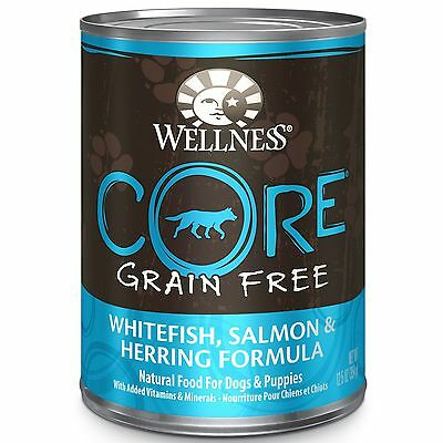 Wellness CORE Natural Wet Grain Free Canned Dog Food Salmon Whitefish & H... New