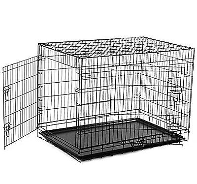 PawHut 48-Inch Large Two Door Folding Dog Crate Cage Kennel Black New