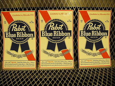 "PBR PABST BLUE RIBBON Beer ~ NEW ~ 3 PACK  STICKERS 3 1/4"" X 5 1/2"" Decal"