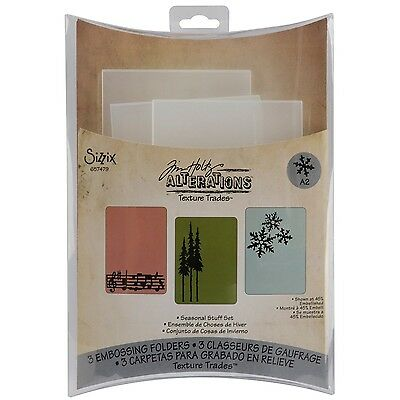 Sizzix Texture Trades Embossing 3 Folders New