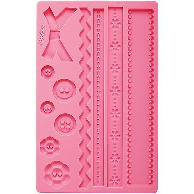 Wilton 409-2563 Silicone Mold Fabric Fondant and Gum Paste New