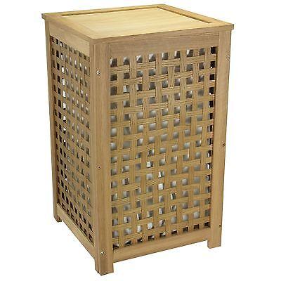 Household Essentials Oak Lattice Laundry Hamper with Hinged Lid and Cotto... New