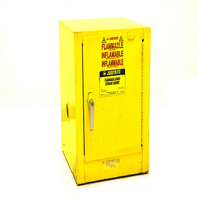 Justrite 25042 Yellow 4-Gallon Self-Closing Flammable Liquid Storage Cabinet #1