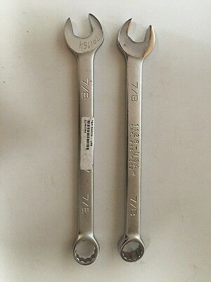 "2 Wright Tool 1128 Combination Wrench, 12 Point, 7/8"", USA"