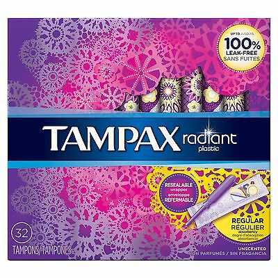 Radiant Plastic Regular Absorbency Tampons 32 Count New