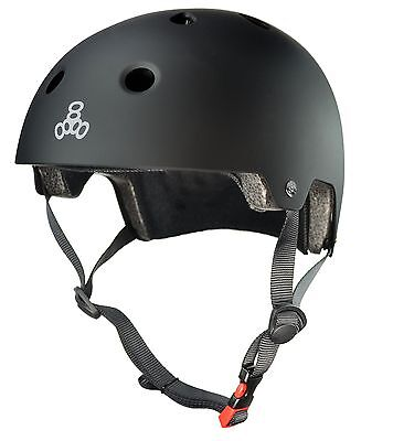 Triple Eight Certified Helmet All Black Rubber L/XL New