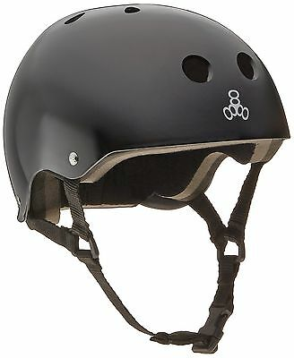 Triple Eight 1002 Brainsaver Glossy Helmet with Standard Liner Black Glos... New