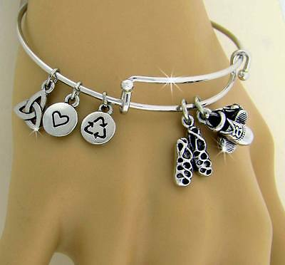 """Celebration"" of Irish Dance Hard Shoe and Soft Shoe Charm Bangle"