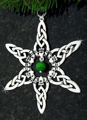 Pewter Irish Claddagh/Green Bead SnowWonders Snowflake Ornament