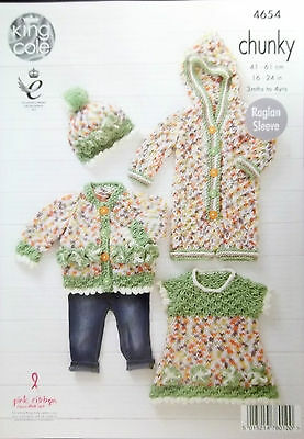 """King Cole Chunky pattern cardigans and sweater 16-24"""" 4654"""