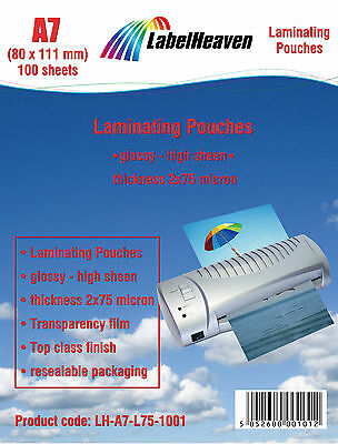 100 Laminating Pouches Premium Laminator Sheets Sleeves Pockets A7 - 80 x 111mm