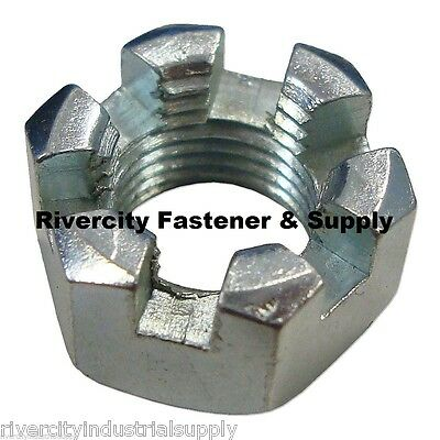 "(2) 1-14 Slotted Hex Castle Nut Zinc Plated 1"" x 14 Fine  Thread 1 inch fine"