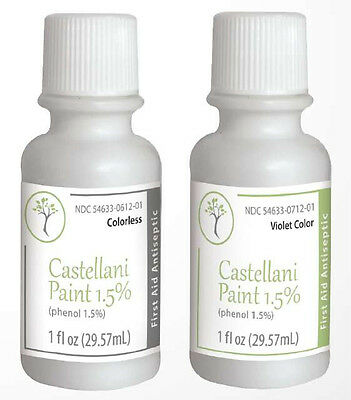 CASTELLANI PAINT 1.5% Phenol Colorless / Violet 1 Oz First Aid Antiseptic Agent