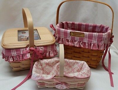 3 Longaberger Mixed Basket Collection with a Pink Trim and Photo Display