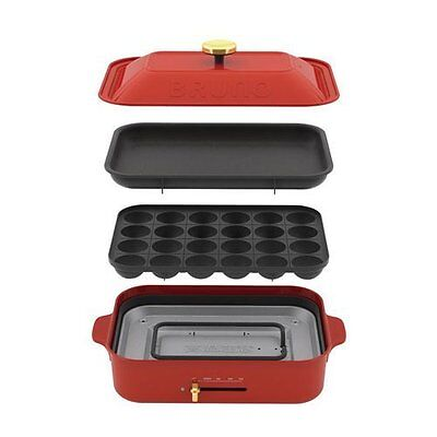 BRUNO compact hot plate Red Takoyaki Plate Griddle BOE021-RD New free shipping