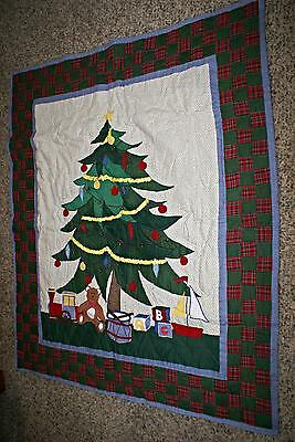 Applique Quilt Christmas Blanket Throw Table Tree Hand Made