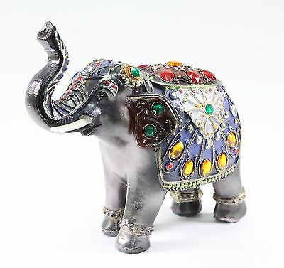 "Feng Shui 7"" Dark Gray Elephant Trunk Statue Lucky Figurine Gift Home Decor"