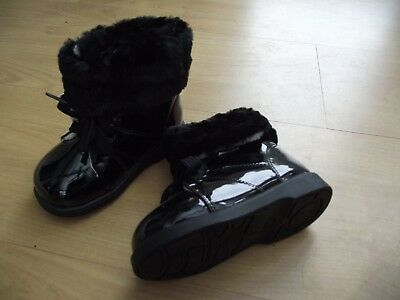 Girls Childrens Toddler Infant Kids Black Patent Leather Fur Boots by Freycoo