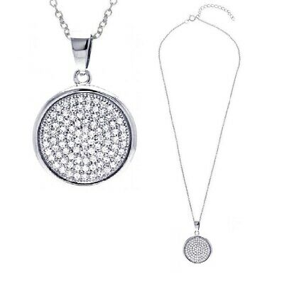 Sterling Silver Jeweled Circle Pendant  w// Cubic Zirconia Stones
