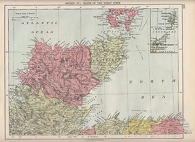 1923 Map ~ Scotland ~ North Of The Moray Firth Inset Shetland Orkney Islands