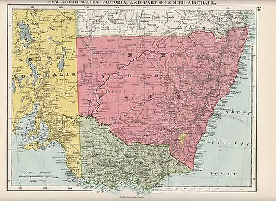 1923 Map ~ Australia ~ New South Wales Victoria ~ Part Of Southern Australia