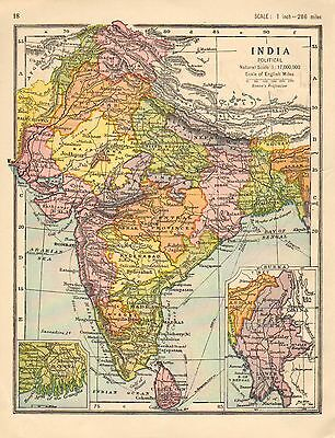 1930 Map ~ India Political ~ Burma Ceylon Calcutta ~ Bombay Madras Rajputana