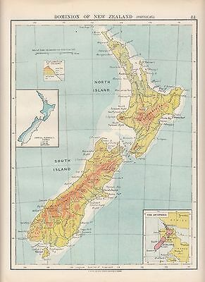 1923 Map ~ Dominion Of New Zealand Physical ~ Inset Annual Rainfall Antipodes