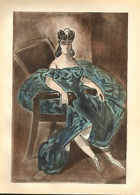 1939 LARGE ORIGINAL LITHOGRAPH by CONSTANTIN GUYS ~ ONE of FOUR PORTRAITS