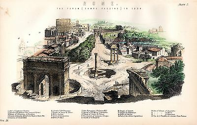 1880 Hand Coloured Print ~ Rome ~ The Forum Campo Vaccino Temples Arch Of Titus