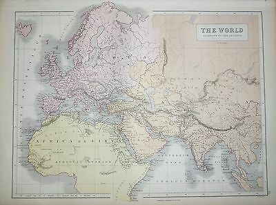 1876 Large Antique Victorian Map ~ The World Ancient ~ Europa Africa Libya Asia