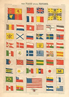 1876 LARGE ANTIQUE VICTORIAN PRINT FLAGS OF NATIONS GERMAN UNION JACK TUNIS etc