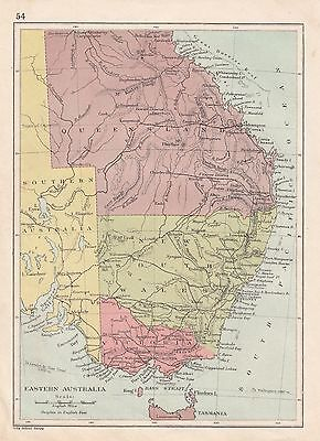 c1890 VICTORIAN MAP ~ EASTERN AUSTRALIA QUEENSLAND NEW SOUTH WALES BASS STRAIT