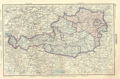 1952 Map ~ Austria ~ Showing Military Zones British American French Russian