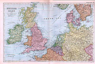 1912 Large Map ~ The British Isles ~ Railways Steamship Connections Europe