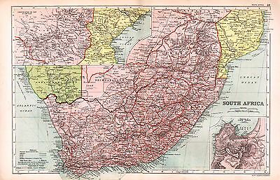 1912 Large Map ~  South Africa ~ Inset ~ Environs Of Cape Town