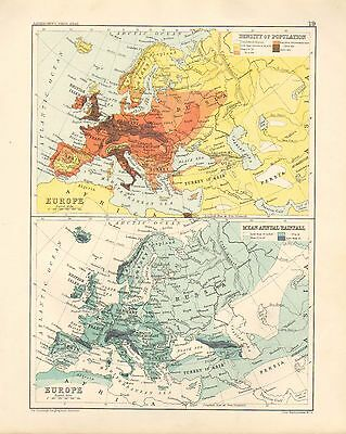 1891 Victorian Map ~ Density Of Population Europe & Mean Annual Rainfall