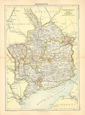 1892 Victorian County Map ~ Monmouth Newport Usk Pontypool Divisions Boroughs