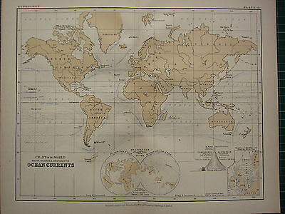 1892 Victorian Map ~ Chart Of The World Showing Ocean Currents Forms Directions