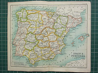 1904 Small Map ~ Spain & Portugal New Castile Andalusia Aragon Balearic Isles