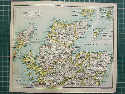 1904 Small Map ~ Scotland Northern Section ~ Orkney Shetland Island Inverness